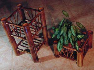 Maceteros y basureros de bambú